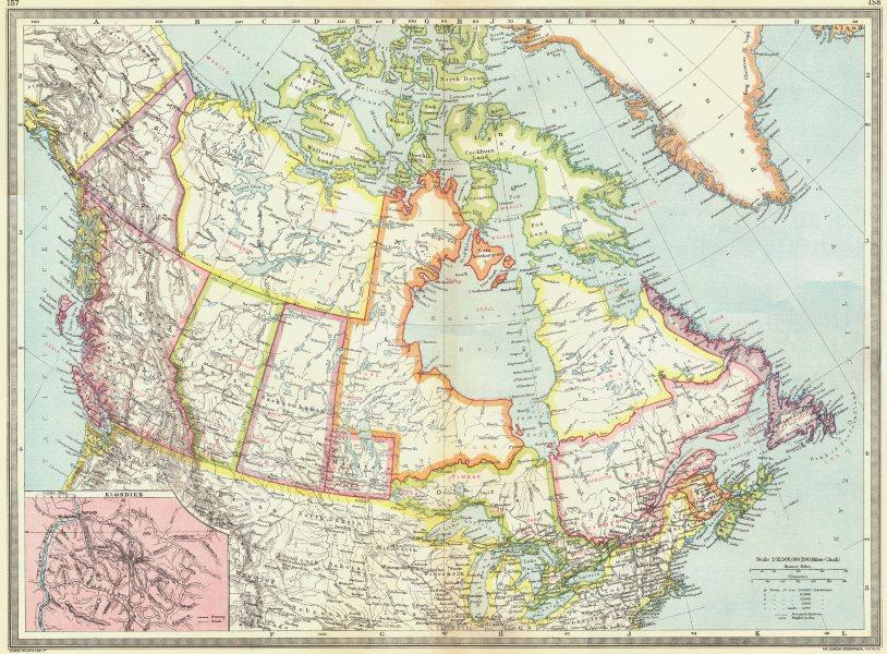 Associate Product CANADA. Dominion of & Newfoundland; map Klondike 1907 old antique chart