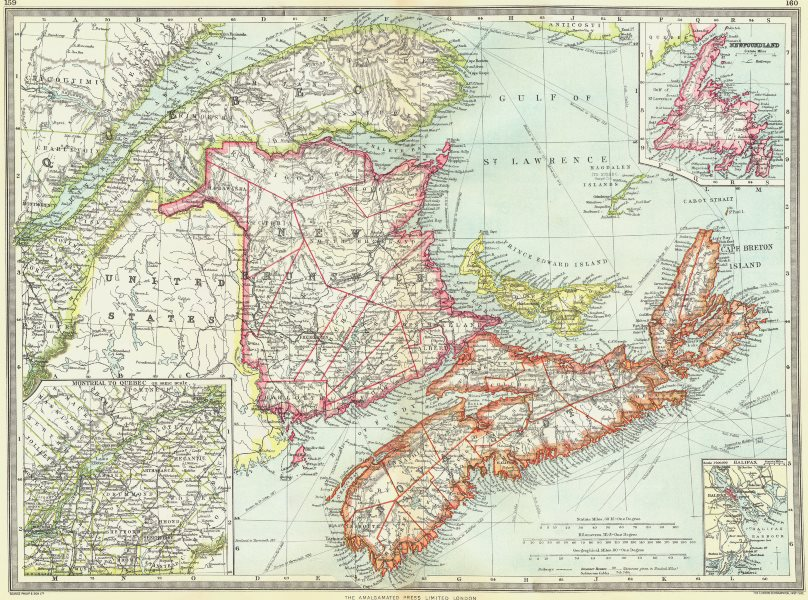 Associate Product CANADA. Maritime Provinces; Newfoundland; Montreal to Quebec; Halifax 1907 map