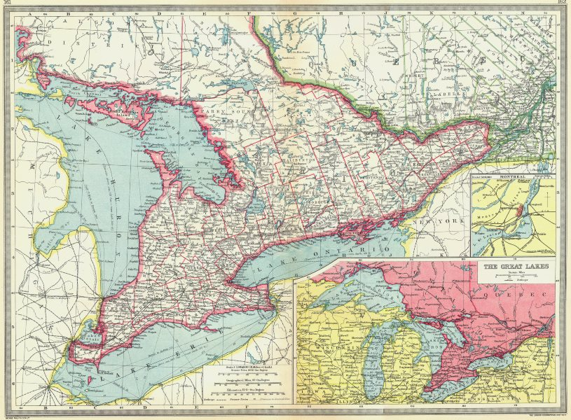 Associate Product UPPER CANADA. Ontario. St Lawrence; maps of Montreal; Great Lakes 1907 old
