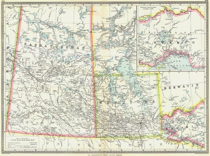 Associate Product CANADA. Central including Manitoba & Saskatchewan; Eastern Ontario 1907 map