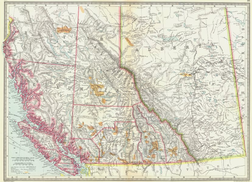 Associate Product CANADA. Western. showing goldfields of British Columbia 1907 antique map