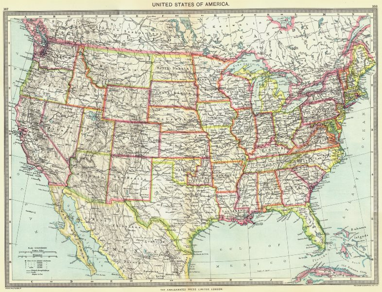 Associate Product USA. United States of America 1907 old antique vintage map plan chart