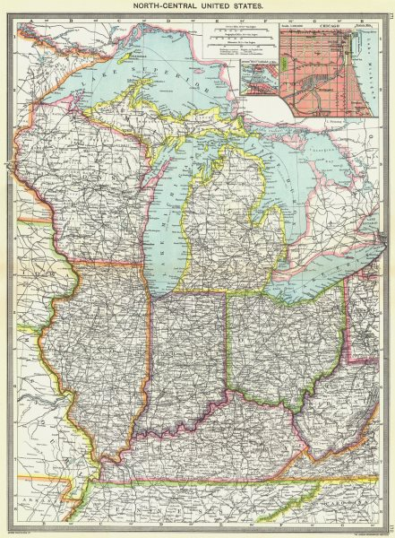 Associate Product USA. Mid West. maps of Chicago; Soo canals 1907 old antique plan chart