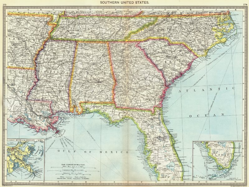 Associate Product USA. Southern US; maps of Mouths Mississippi; Florida 1907 old antique