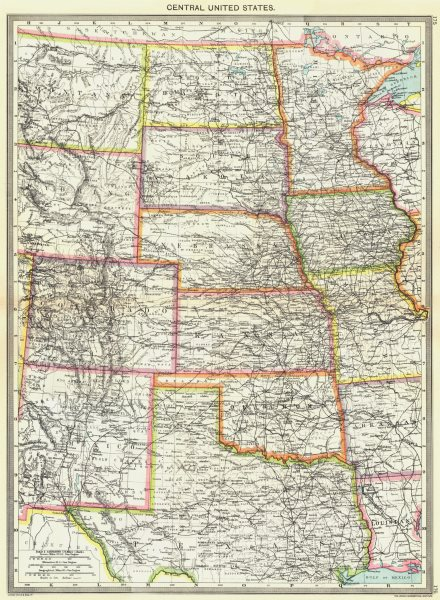 Associate Product USA. Central United States 1907 old antique vintage map plan chart