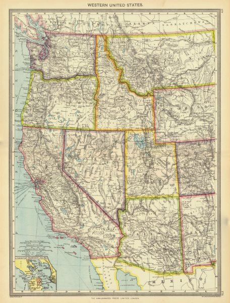 Associate Product USA. Western United States; Inset map of San Francisco 1907 old antique