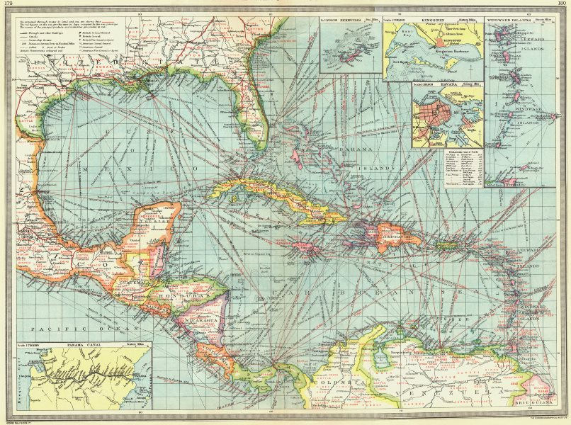 Associate Product CARIBBEAN CENTRAL AMERICA. Industry & Comms; Panama Canal; Bermuda 1907 map