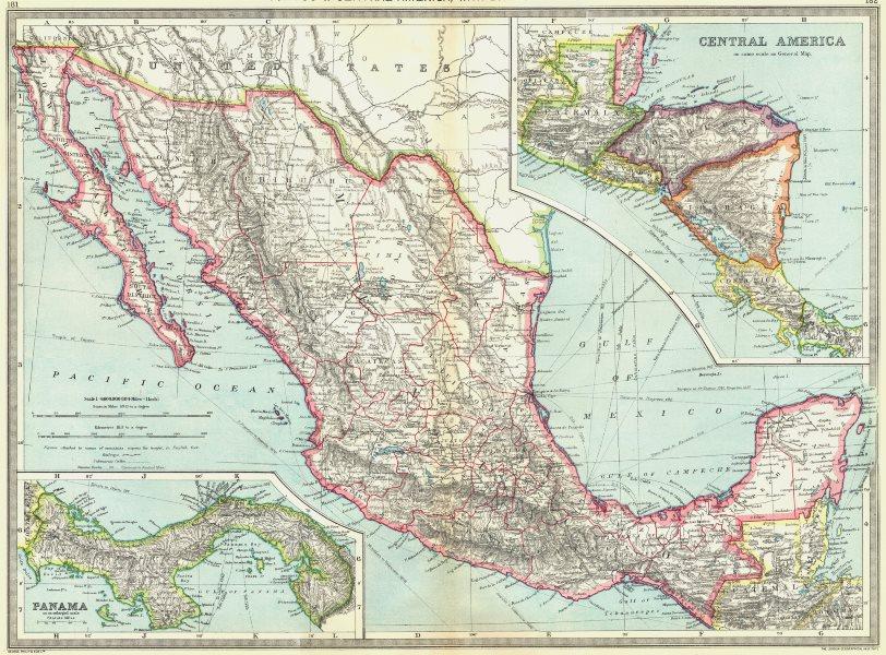 MEXICO. Belize Honduras Guatemala Nicaragua Costa Rica Panama 1907 old map