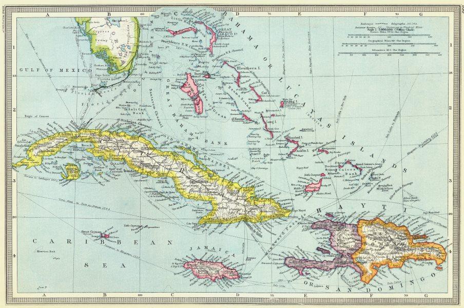 Associate Product WEST INDIES. Greater Antilles. Cuba Hispaniola Bahamas 1907 old antique map