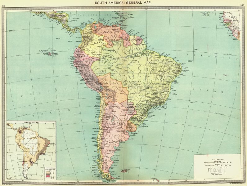 Associate Product SOUTH AMERICA. map of population 1907 old antique vintage plan chart
