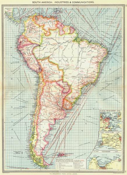 Associate Product SOUTH AMERICA. Communications; Rio de Janeiro Callao Lima Valparaiso 1907 map