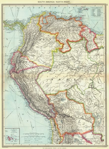 Associate Product SOUTH AMERICA. North-west; map of Galapagos Isles 1907 old antique chart