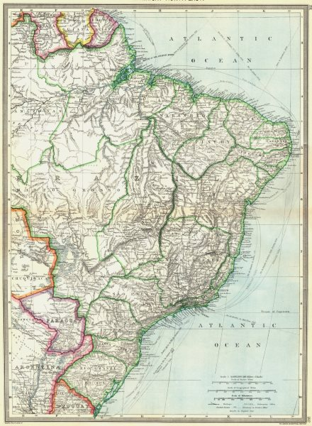 Associate Product BRAZIL. South America. North-East 1907 old antique vintage map plan chart