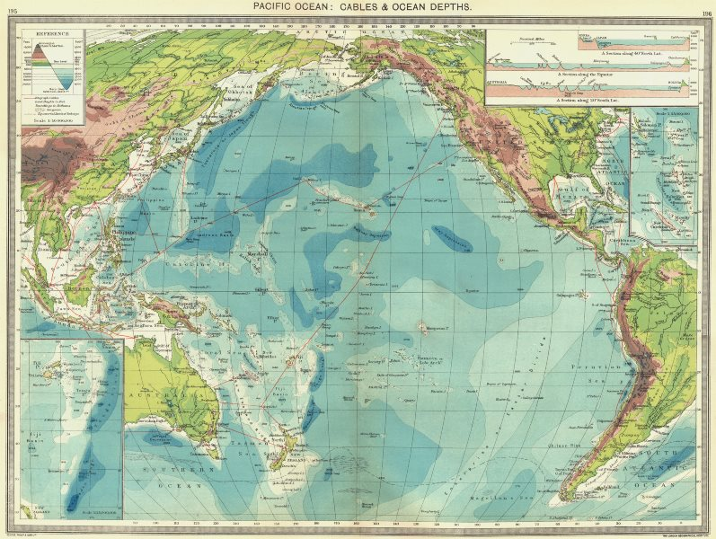 Associate Product PACIFIC OCEAN. Cables & Depths; maps of Fiji Islands; New Hebrides 1907
