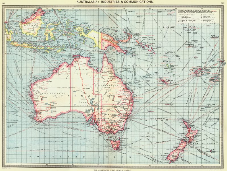 Associate Product AUSTRALASIA. Australia. Industries and Communications 1907 old antique map
