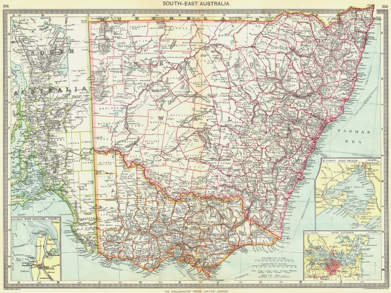 Associate Product AUSTRALIA. South-east. New South Wales Port Adelaide Phillip Jackson 1907 map