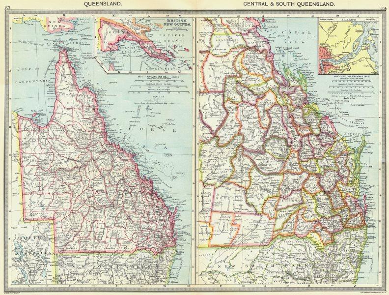 Associate Product AUSTRALIA. Queensland; Central & south; British New Guinea; Brisbane 1907 map