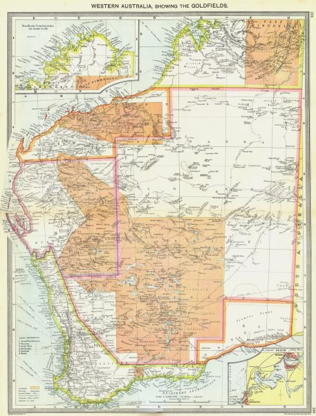 Associate Product AUSTRALIA. Western, Goldfields; maps of Northern Continuation; Perth 1907