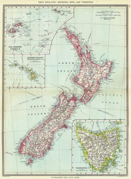 Associate Product NEW ZEALAND. Tasmania Fiji Friendly Samoa Sandwich Hawaii Islands 1907 old map