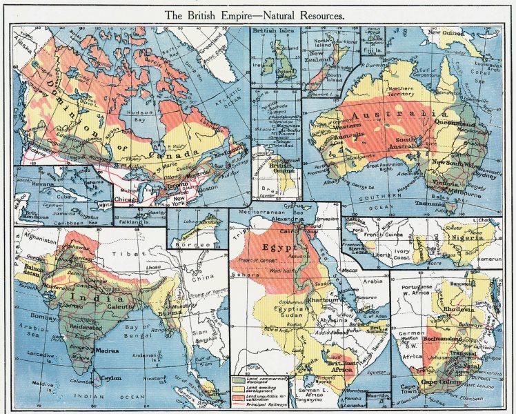 Associate Product BRITISH EMPIRE. Natural Agricultural Resources Australia India Canada 1907 map