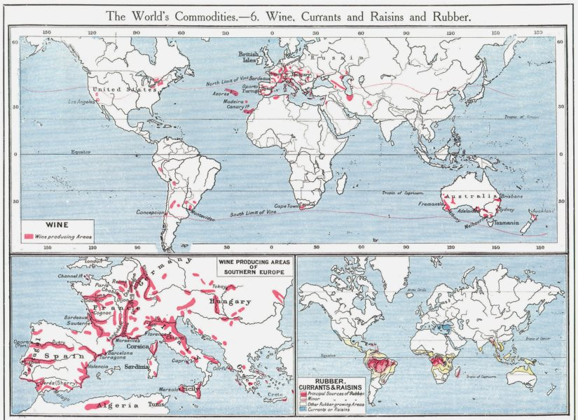 Associate Product WORLD. Wine Rubber Currants Raisins; viticulture Southern Europe 1907 old map