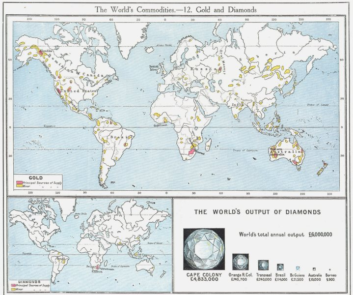 Associate Product WORLD. Commodities - Sources of Gold & Diamonds 1907 antique map chart