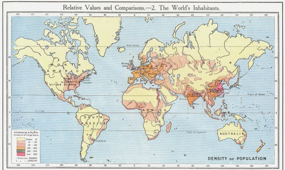 Associate Product WORLD. Population density. The World's Inhabitants 1907 old antique map chart