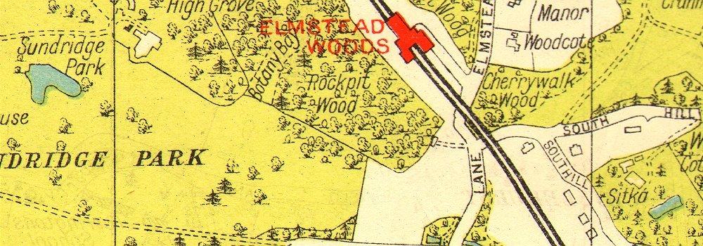 LONDON Bickley Elmstead Widmore Mottingham Chislehurst Chalkpit Wood 1937 map