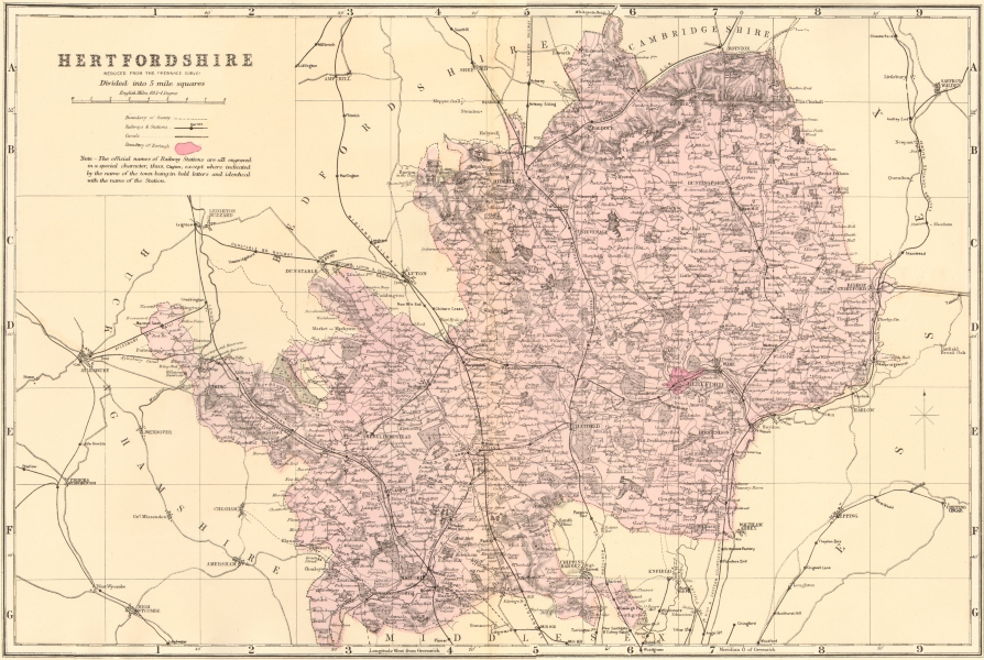 Associate Product HERTFORDSHIRE. Antique county map by GW BACON 1883 old plan chart