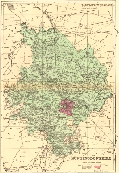 Associate Product HUNTINGDONSHIRE. Antique county map by GW BACON 1883 old chart