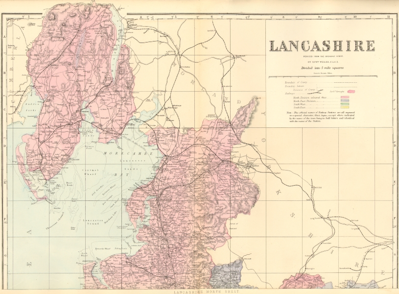 Associate Product LANCASHIRE (North sheet). Antique county map by GW BACON 1883 old