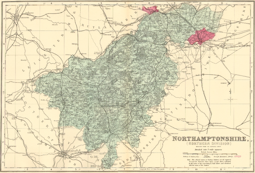 Associate Product NORTHAMPTONSHIRE (North). Antique county map by GW BACON 1883 old