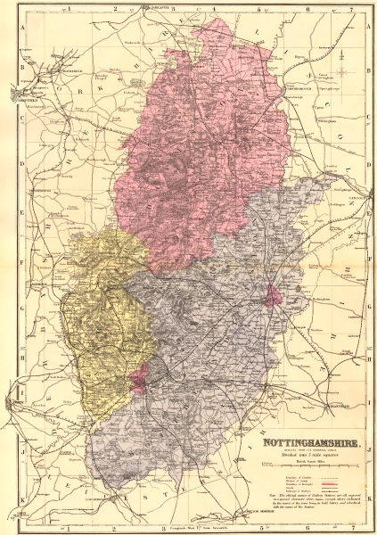 Associate Product NOTTINGHAMSHIRE. Antique county map by GW BACON 1883 old chart