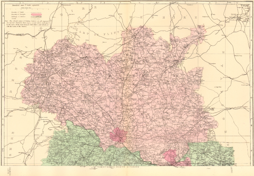 Associate Product SHROPSHIRE (North). Antique county map by GW BACON 1883 old chart