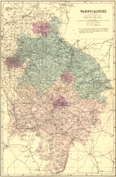 Associate Product WARWICKSHIRE. Antique county map by GW BACON 1883 old plan chart