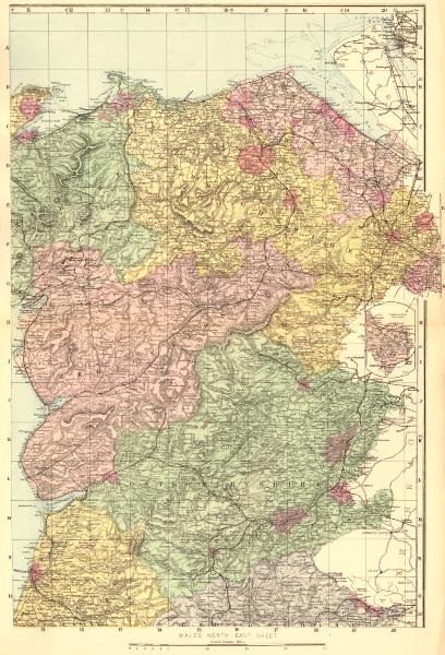 Associate Product WALES (North East). Flint Denbigh Merionethshire Clywd. GW BACON 1883 old map