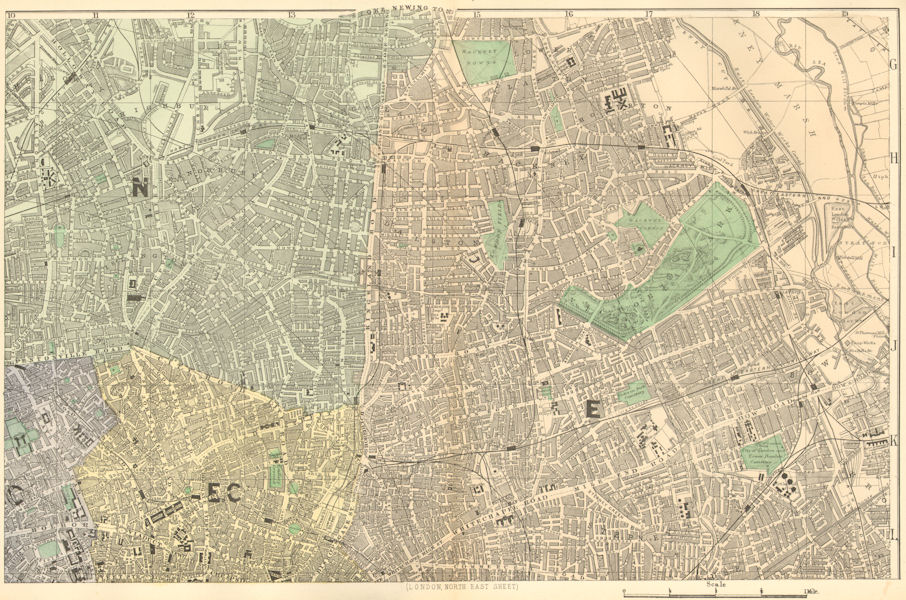 LONDON N East. City Hackney Tower Hamlets Islington. Town plan. BACON 1884 map