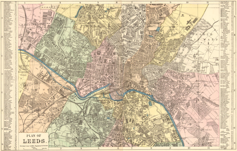 LEEDS. Holbeck Wortley Woodhouse Richmond Hill. Town plan. GW BACON 1883 map