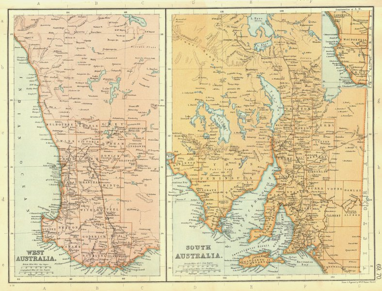 Associate Product WESTERN & SOUTH AUSTRALIA. Showing counties & railways.  BLACKIE 1893 old map