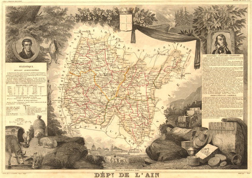 Associate Product Département de l'AIN. Decorative antique map/carte by Victor LEVASSEUR 1852
