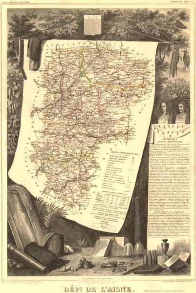 Associate Product Département de l'AISNE. Decorative antique map/carte by Victor LEVASSEUR 1852