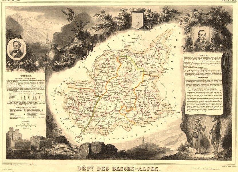 Associate Product Département des BASSES-ALPES. Alpes-de-Haute-Provence. LEVASSEUR 1852 old map