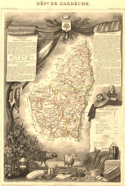 Associate Product Département de l'ARDÈCHE. Decorative antique map/carte by Victor LEVASSEUR 1852