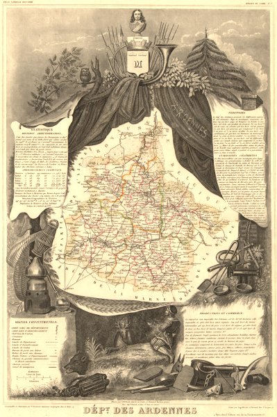 Département des ARDENNES. Decorative antique map/carte by Victor LEVASSEUR 1852