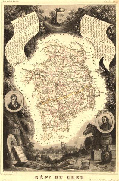 Associate Product Département du CHER. Decorative antique map/carte by Victor LEVASSEUR 1852