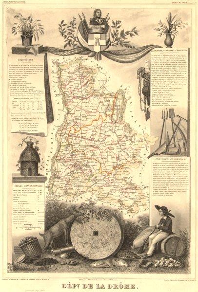 Associate Product Département de la DRÔME. Decorative antique map/carte by Victor LEVASSEUR 1852
