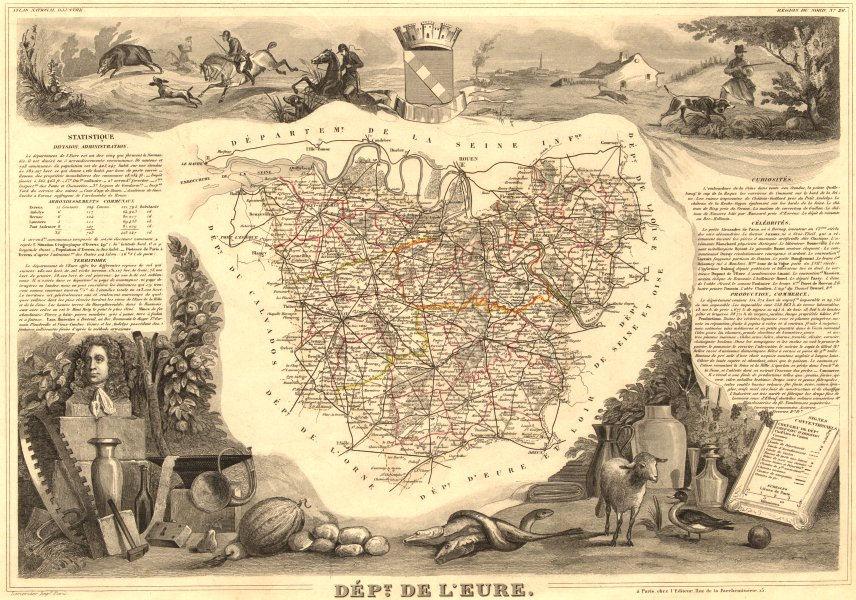 Associate Product Département de l'EURE. Decorative antique map/carte by Victor LEVASSEUR 1852