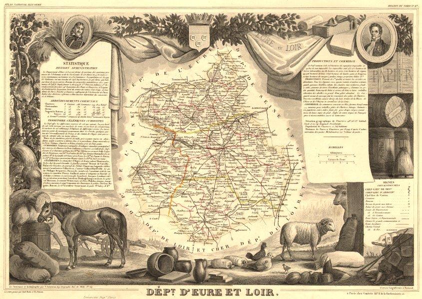 Associate Product Département d'EURE-ET-LOIR. Decorative antique map/carte. LEVASSEUR 1852