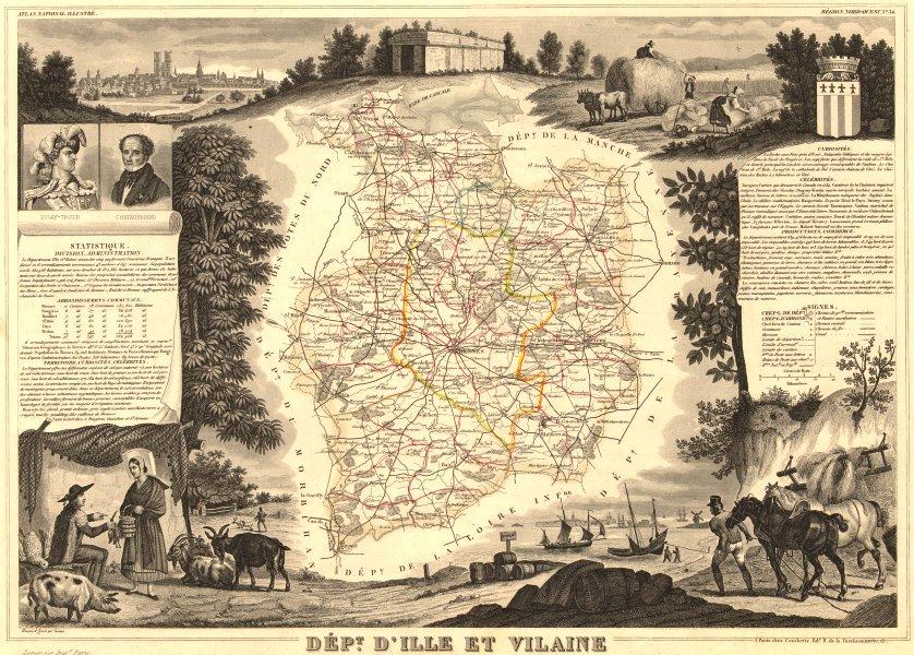 Associate Product Département d'ILLE-ET-VILAINE. Decorative antique map/carte. LEVASSEUR 1852