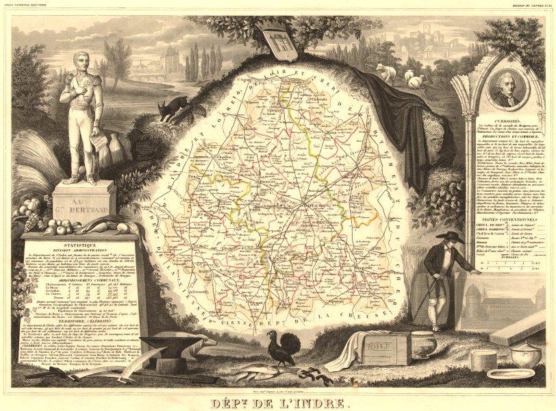Associate Product Département de l'INDRE. Decorative antique map/carte by Victor LEVASSEUR 1852